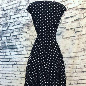 Ralph Lauren Dresses - Ralph Lauren Black White Polka Dot Fit Flare Pinup